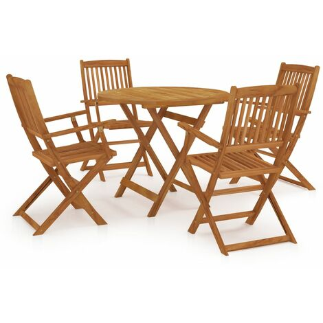 5 Piece Folding Outdoor Dining Set Solid Acacia Wood - Brown