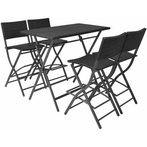 5 Piece Folding Outdoor Dining Set Steel Poly Rattan Black