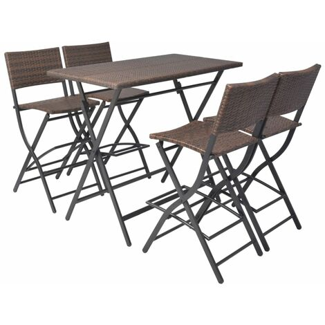 5 Piece Folding Outdoor Dining Set Steel Poly Rattan Brown