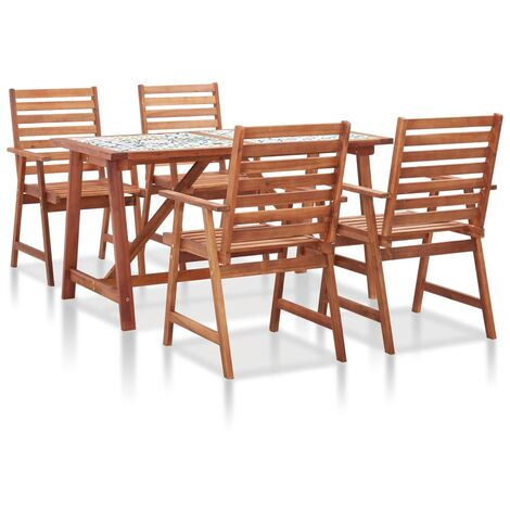 5 Piece Garden Dining Set Mosaic Tile Top and Solid Acacia Wood