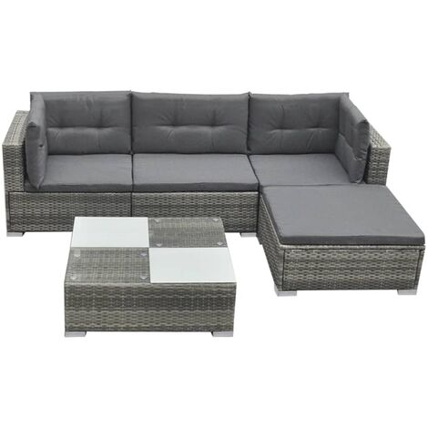 5 Piece Garden Lounge Set with Cushions Poly Rattan Grey