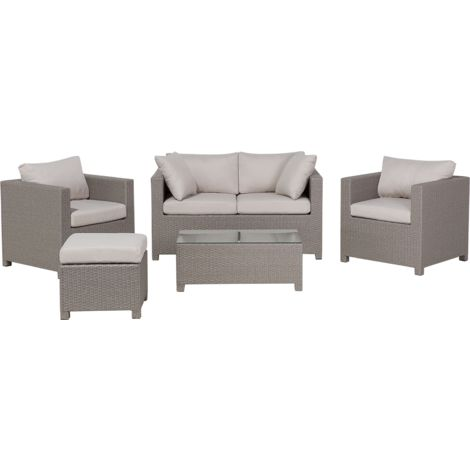 5 Piece Garden Sofa Set Grey and Beige MILANO