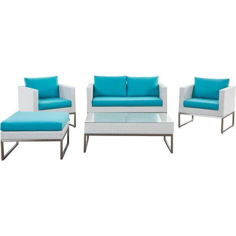 5 Piece Garden Sofa Set White and Turquoise CREMA