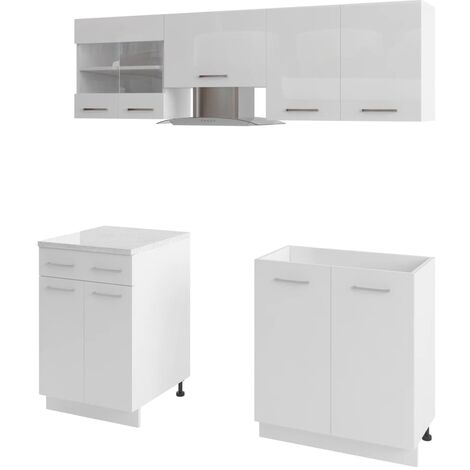 5 Piece Kitchen Cabinet Set with Range Hood High Gloss White