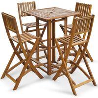 5 Piece Outdoor Bar Set Solid Acacia Wood