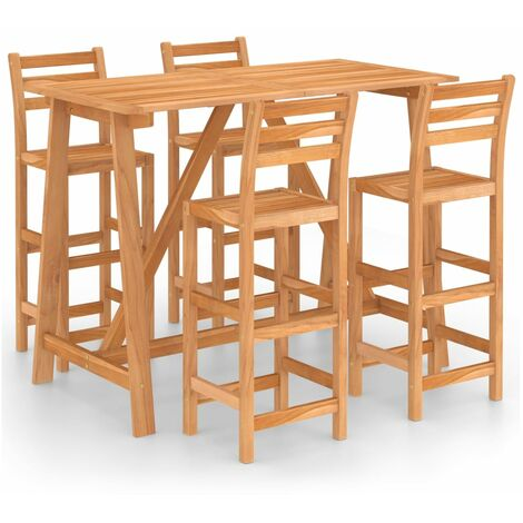 """main image of """"5 Piece Outdoor Bar Set Solid Acacia Wood20280-Serial number"""""""