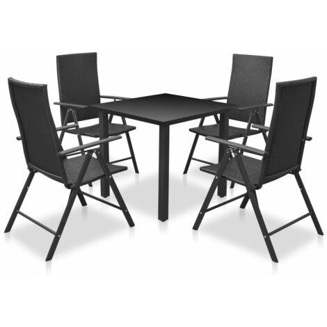 5 Piece Outdoor Dining Set Aluminium and Poly Rattan