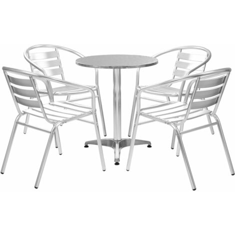 5 Piece Outdoor Dining Set Aluminium Silver