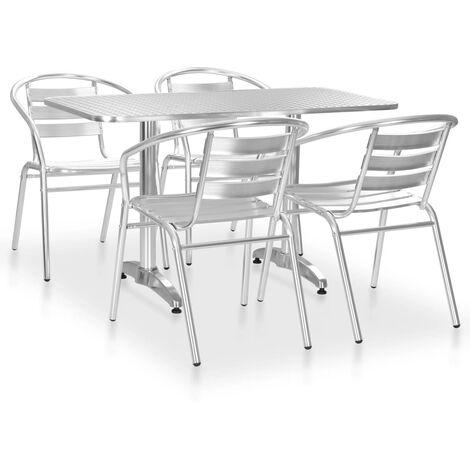 5 Piece Outdoor Dining Set Aluminium Silver