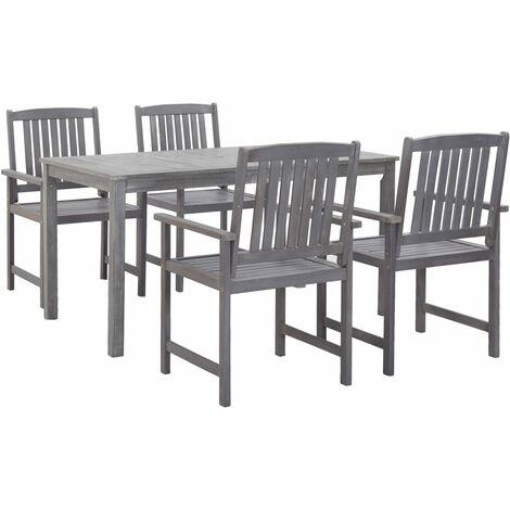 5 Piece Outdoor Dining Set Grey Solid Acacia Wood
