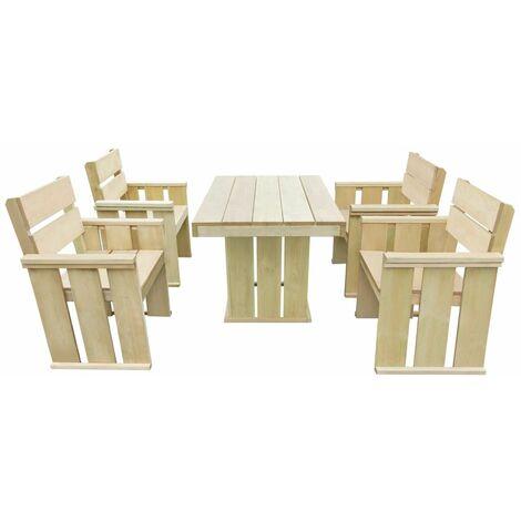 5 Piece Outdoor Dining Set Impregnated Pinewood