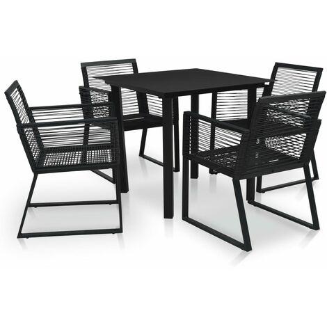 5 Piece Outdoor Dining Set PVC Rattan Black