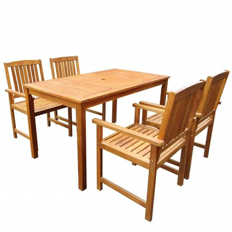 5 Piece Outdoor Dining Set Solid Acacia Wood
