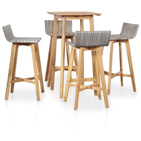 5 Piece Outdoor Dining Set Solid Acacia Wood - Brown