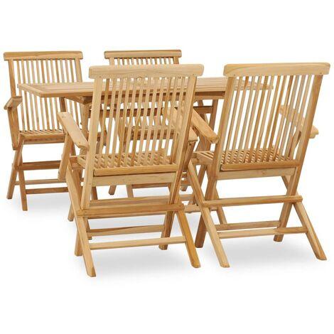 5 Piece Outdoor Dining Set Solid Teak Wood