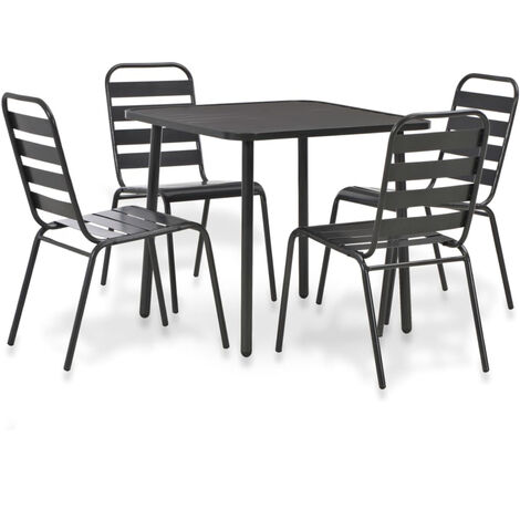 5 Piece Outdoor Dining Set Steel Dark Grey