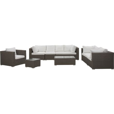 5 Piece Outdoor Lounging Set Faux Rattan with Cushions for 8 People Taupe Maestro II