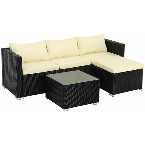 5-Piece Patio Furniture Set, PE Rattan Garden Furniture Set, Outdoor Corner Sofa Couch, Handwoven Rattan Patio Conversation Set, with Cushions and Glass Table, Black and Beige GGF005B02 - Black and Beige