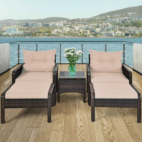 5 Piece Rattan Sofa Set Outdoor Indoor Use Wicker Lounge Chair Ottoman W/Cushion