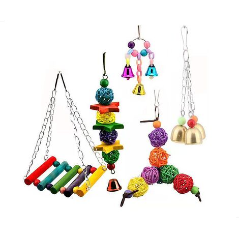 """main image of """"5 pieces bird toy parrot toy set swing bell toy parrot toy"""""""