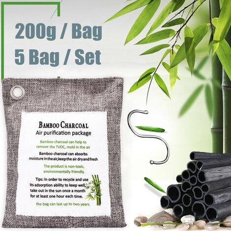 5 Pieces Car Cabinet Interior Bamboo Charcoal Air Purifier Natural Air Freshener Odor Fresher Bag Hooks