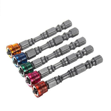 5 pièces de tournevis à foret en acier à tête cruciforme S2 Tournevis PH2 pour vis à cloison sèche avec poignée 1/4 pouce (multicolore)