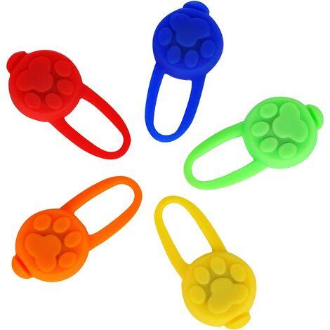 5 Pieces LED Flashing Light Pendant, Dog Silicone LED Necklace Animal Light Necklace, Cat Dog Collar Pendants
