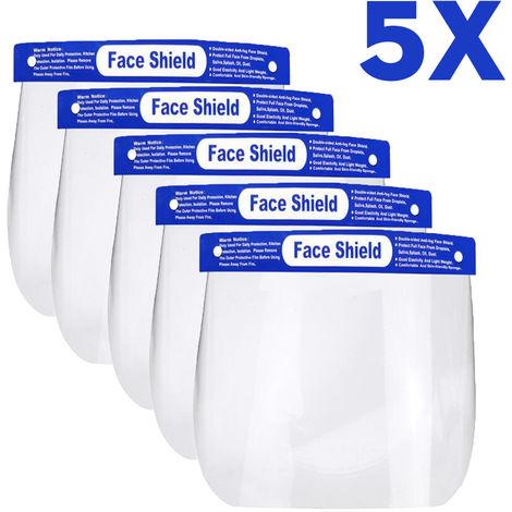 5 pièces masque de protection Transparent Visière de protection