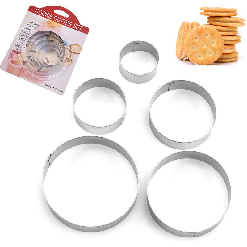 Happyshopping - 5 pieces moules a biscuits cercle moule en metal ensemble en acier inoxydable forme ronde coupe-biscuits Gadgets de cuisine outil de