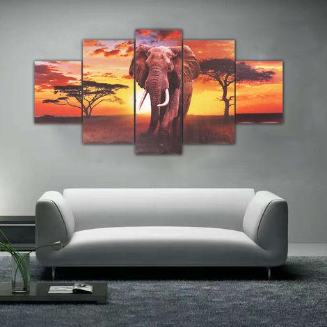 5 Pieces Sunset Elephant Landscape Painting Canvas Canvas Photo Prints For Home Living Room Decor (No Frame) Hasaki