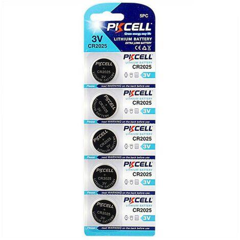 5 Piles Bouton CR2025 3V 150mAh Lithium PKCell