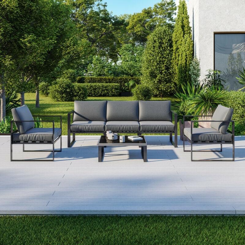 Salon de jardin design aluminium 5 Places couleur Gris - FIGARI - Gris