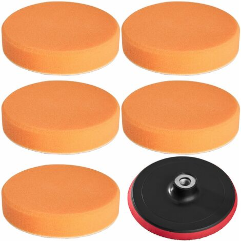 5 polishing sponges 150 mm medium-soft + polishing disc - polishing pads, car polishing pads, buffing pads - orange