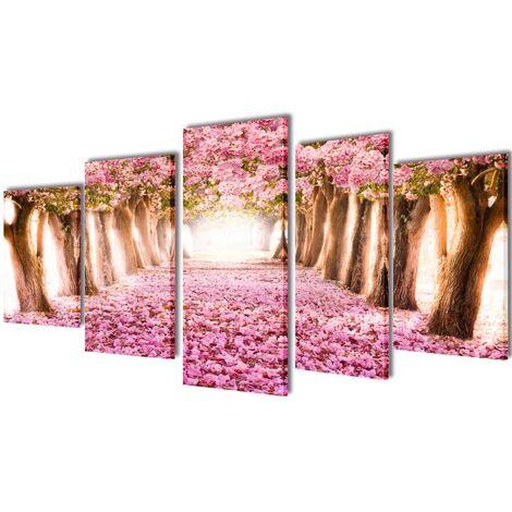 5 pz Set Stampa su Tela da Muro Fiori di Ciliegio 100 x 50 cm