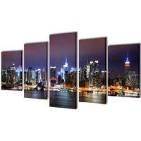 5 pz Set Stampa su Tela da Muro Panorama New York a Colori 100 x 50 cm