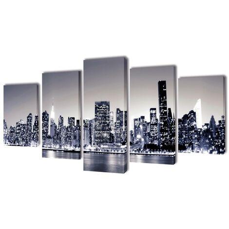 5 pz Stampa su Tela da Muro Panorama New York Monocromatico 100 x 50cm