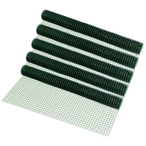 5 rouleaux grillage métallique (mailles carrées)(1m x 5m)(vert) grillage volière grillage clôture 25m fil