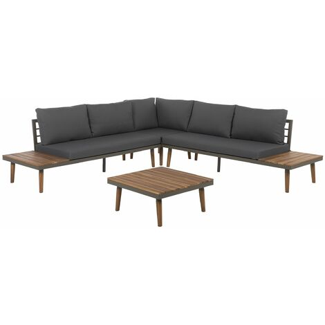 5 Seater Acacia Wood Garden Corner Sofa Set Grey CORATO