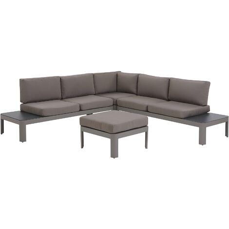 5 Seater Aluminium Garden Corner Sofa Set Grey FERENTINO