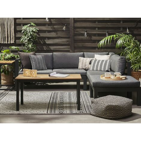 5 Seater Aluminium Garden Corner Sofa Set Grey MESSINA
