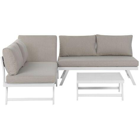 5 Seater Aluminium Garden Corner Sofa Set Taupe COCCORINO