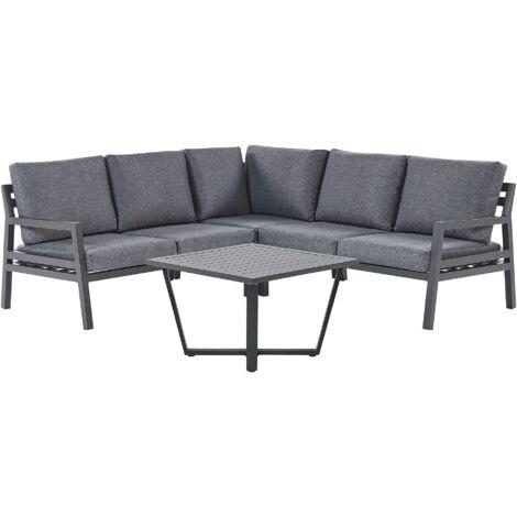 5 Seater Garden Corner Sofa Set Dark Grey VIZZINI