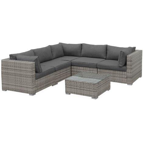5-seater garden corner sofa set, mixed grey