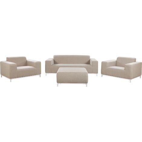 5 Seater Garden Sofa Set Beige with White ROVIGO