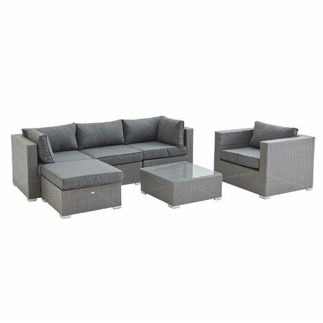 5-seater garden sofa set, grey