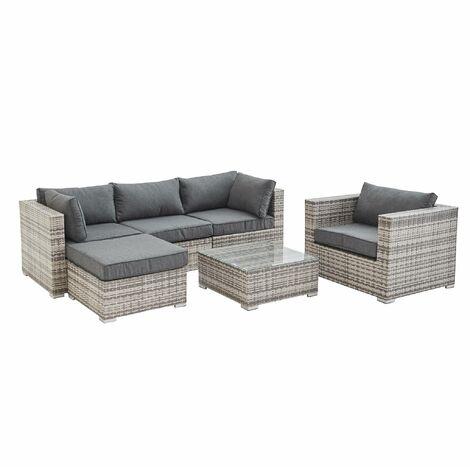 5-seater garden sofa set, mixed grey