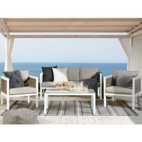 5 Seater Garden Sofa Set White and Brown BORELLO