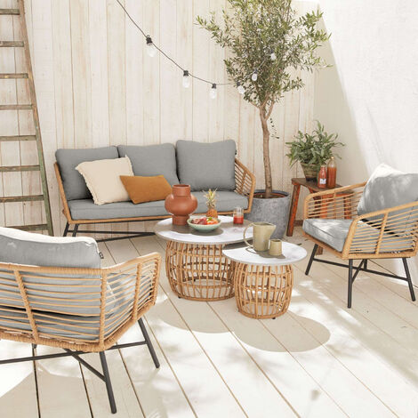 5-seater  garden sofa set with 2 side tables - UBUD
