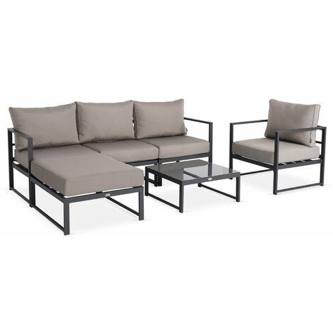 5-seater modular garden sofa set-aluminium - Acatium