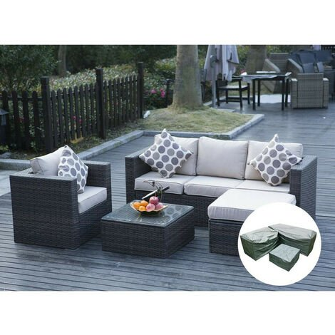 """main image of """"5 Seater New Rattan Garden Furniture Set Brown Sofa Table Chairs - Patio Conservatory"""""""